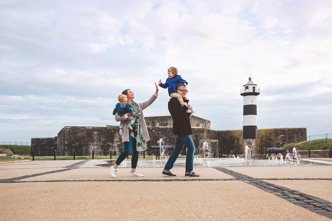 Family portrait at Southsea castle by Moira Lizzie Photography