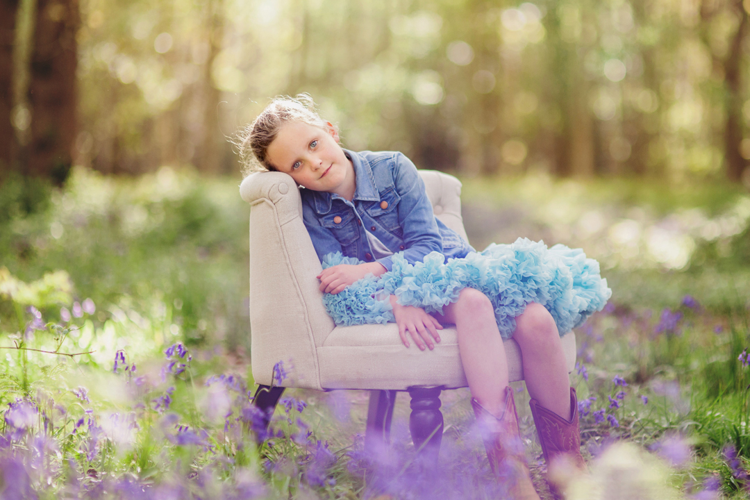 Spring portrait in Bluebell wood by Moira Lizzie Photography