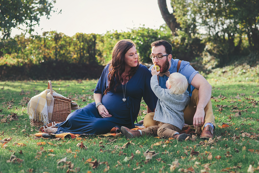 Family enjoying Autumn harvest