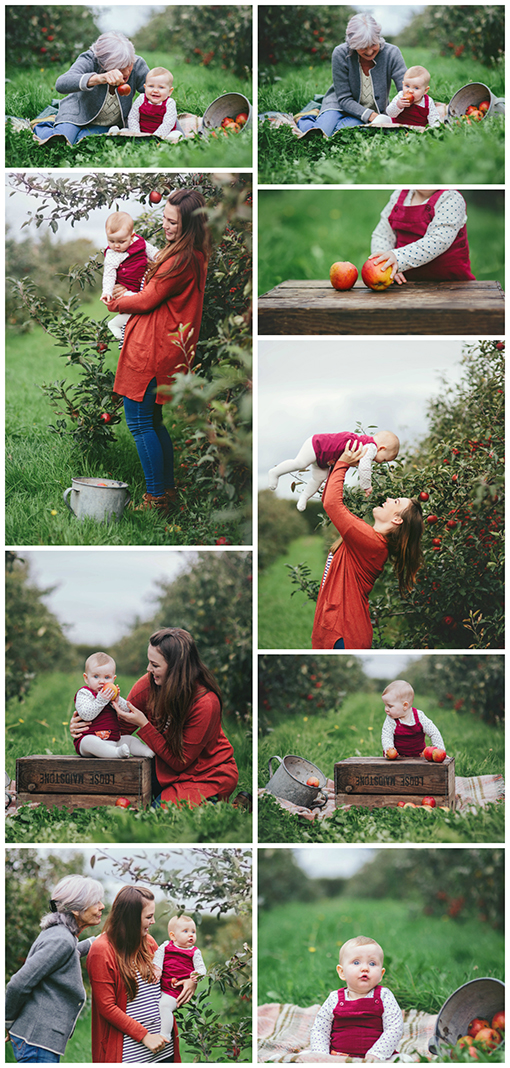 Collage of Autumnal images of four generations of women set in an apple orchard
