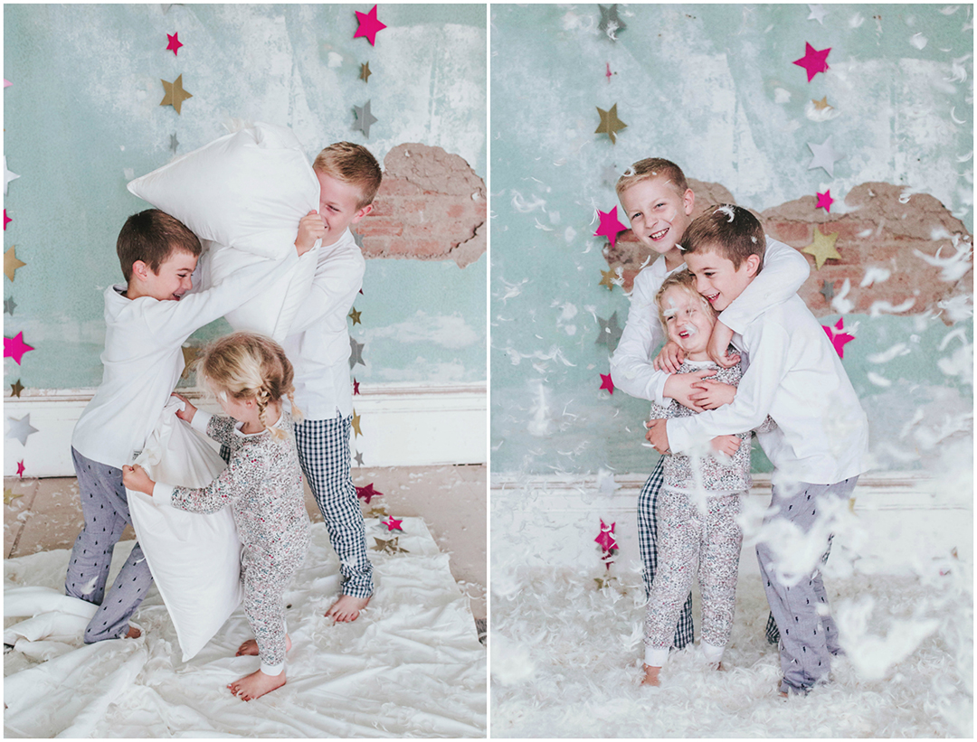 Sibling pillow fight at home