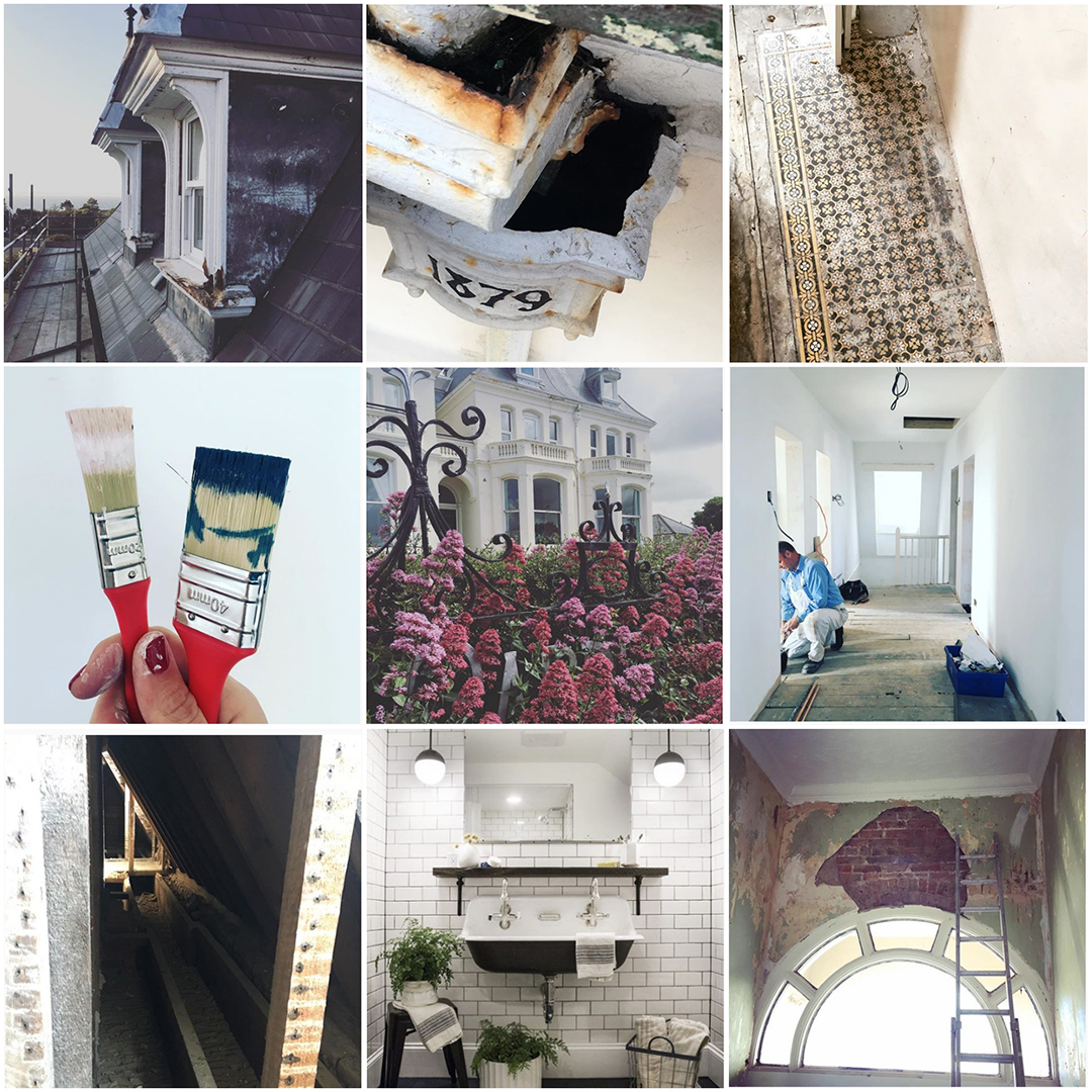 Instagram collage of @Victorianseasidehome renovation project