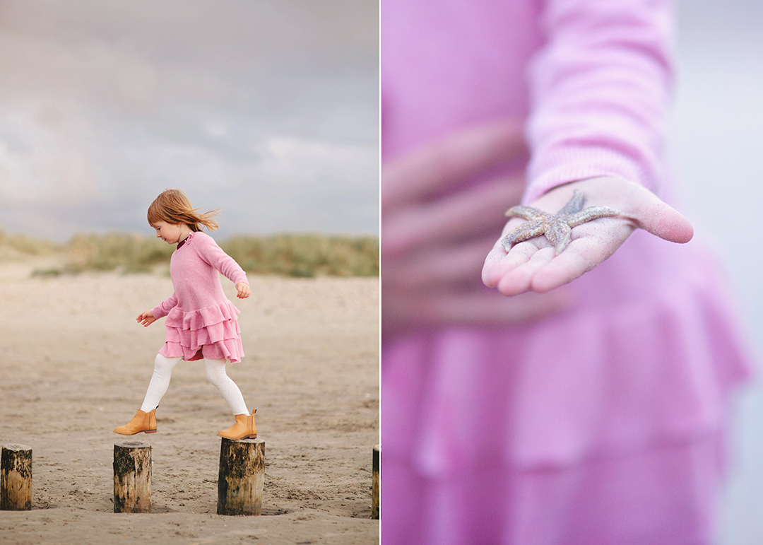 Girl on West Wittering beach with star fish by Moira Lizzie Photography