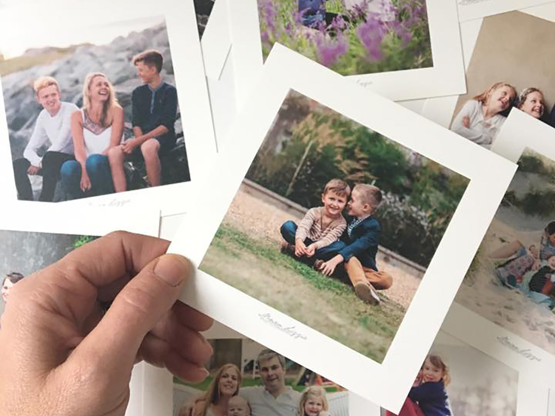 Image of square prints linked to organise your family photographs blog post from Moira Lizzie Photography