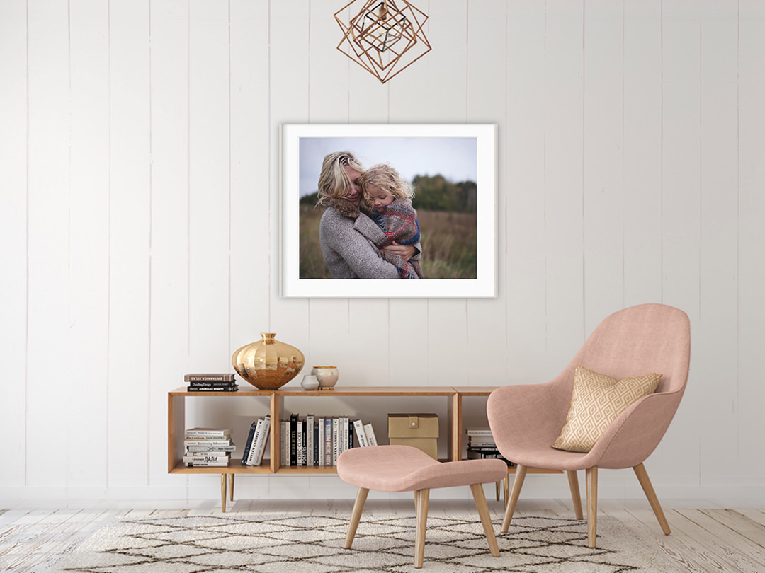 wall display of hygge image of Mother and Daughter wrapped in a blanket