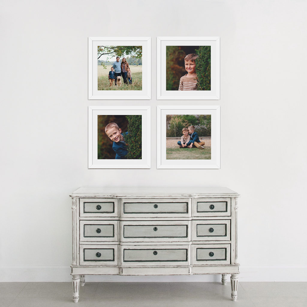 Gallery 3 collection with four framed prints as wall display above sideboard