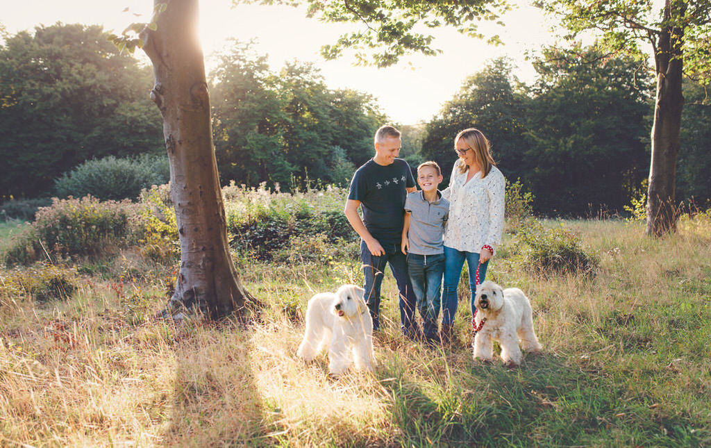 Dog walking family photo shoot at Queen Elizabeth Country Park