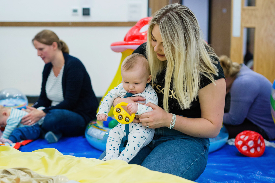 Image of mother and baby enjoying free play at Baby Sensory class