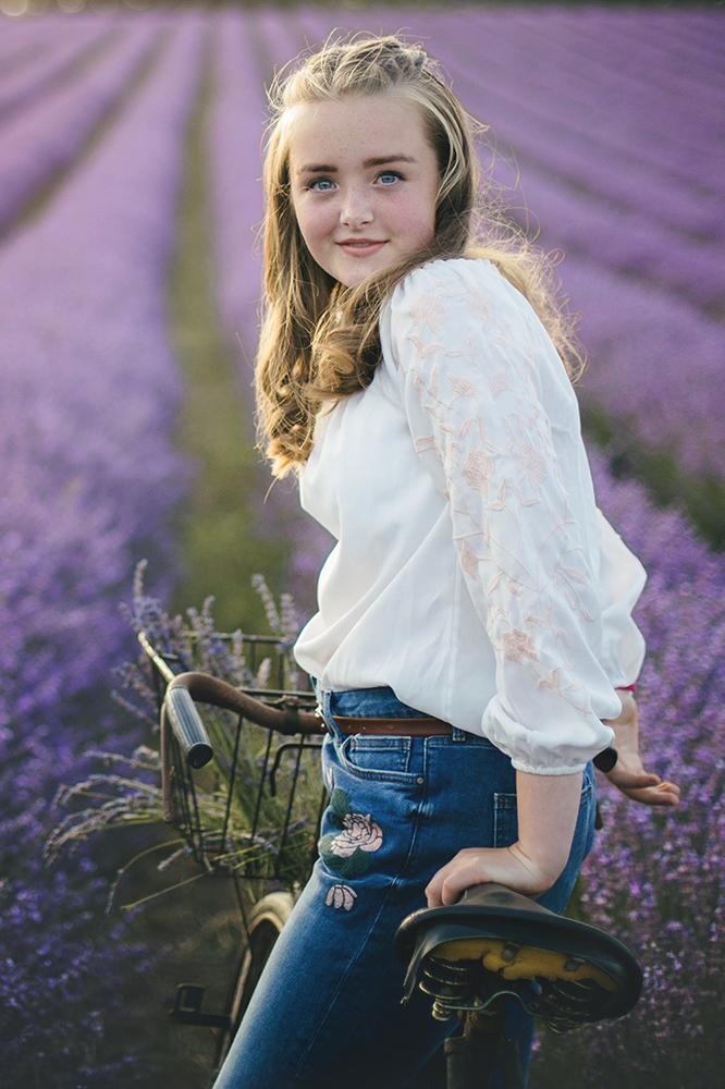 Teen in lavender field