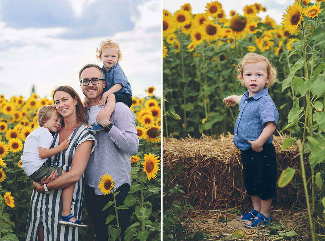 Family sunflower field images by Moira Lizzie Photography