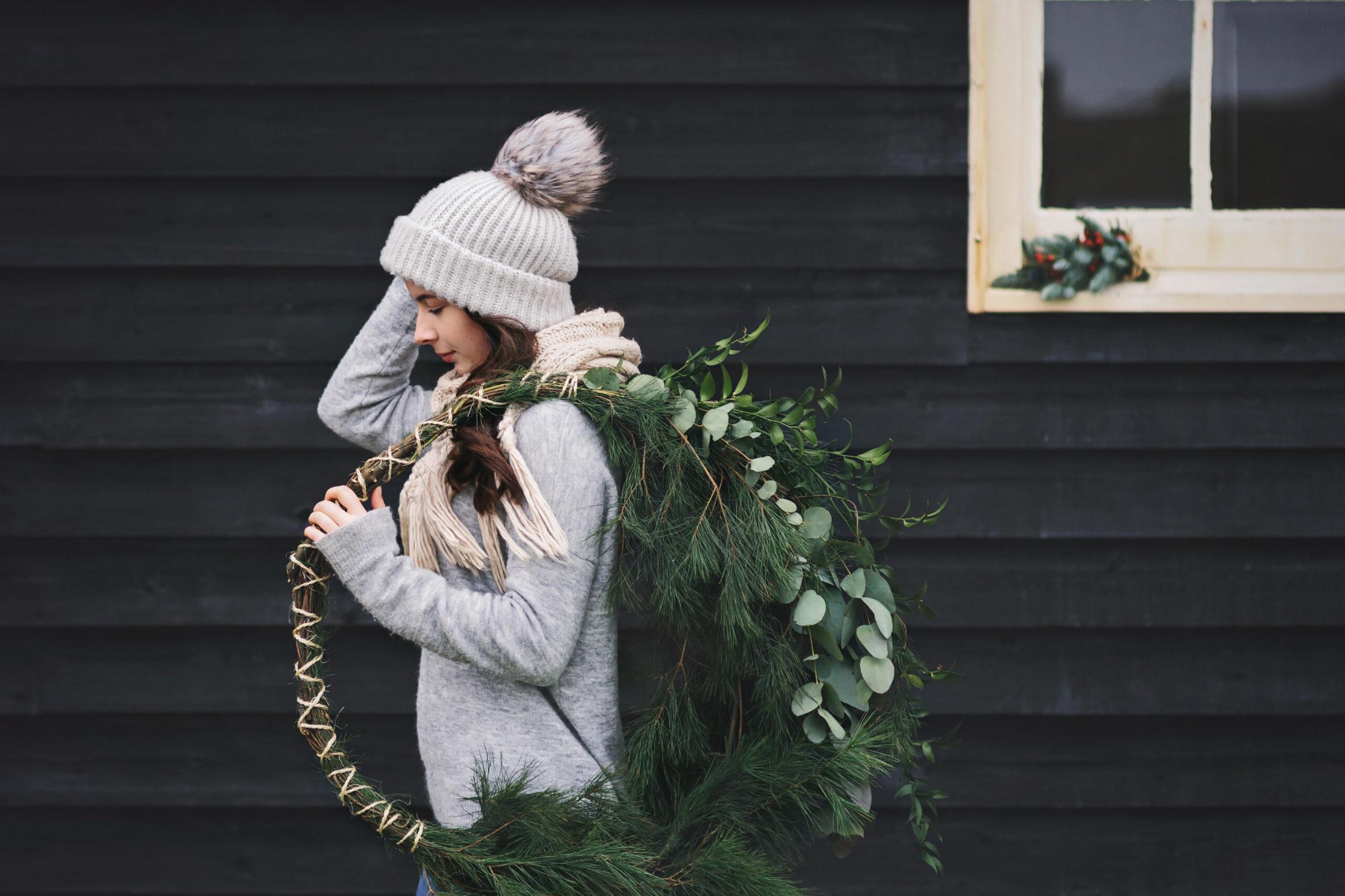 Girl with Christmas Wreath